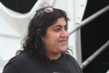Gurinder Chadha outside the Film Tent at Latitude Festival.