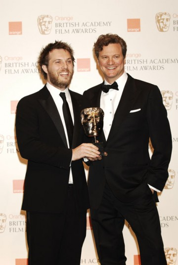 Duncan Jones celebrates with actor Colin Firth after winning the Outstanding Debut by a British Writer, Director of Producer Award for his sci-fi adventure Moon (BAFTA/Richard Kendal)