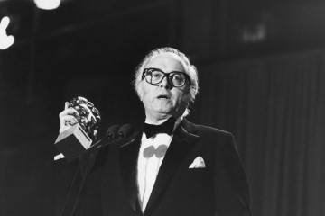 Attenborough collects the BAFTA for Best Film for Gandhi in 1983, his second award of the night and the film's fifth.