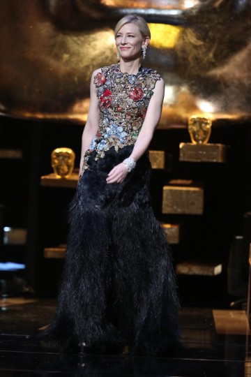 Cate Blanchett takes to the stage to present the award for Outstanding British Contribution to Cinema at the 2016 EE British Academy Film Awards
