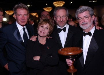 Harrison Ford, Carrie Fisher, Steven Spielberg and George Lucas.