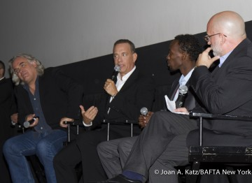 Director Paul Greengrass, Tom Hanks and Barkhad Abdi