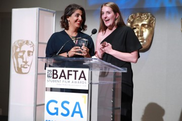 Filmmakers Sana Malik and Ingrid Holmquist accept the Documentary award