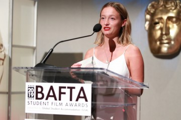 Filmmaker Lola Blanche Higgins accepts the BAFTA-GSA Commissioning Grant