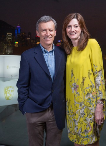 Duncan Kenworthy with BAFTA CEO Amanda Berry at the Peninsula Hong Kong.