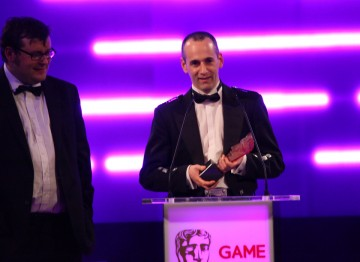 Colin Blackwood and Kevin Flynn from Electronic Arts are thrilled to have won the public's approval as well as that of the Academy's (Online - Multiplayer and Audio Achievement).