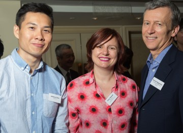 Director Anthony Chen (Ilo Ilo), Clare Stewart (BFI) and Duncan Kenworthy at the Peninsula Hong Kong.