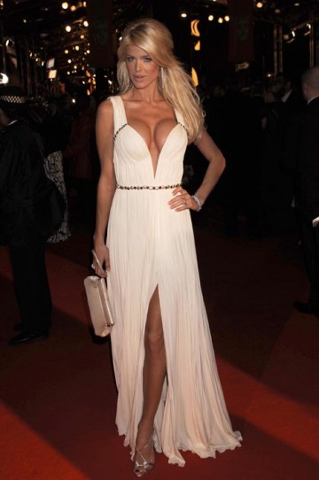 Model Victoria Silvstedt wowed the red carpet crowd in a white Cavalli dress (pic: BAFTA / Richard Kendal).