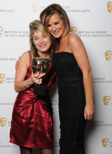 Jacqueline Fowler winner of the Make-Up and Hair Design Award for her work on The Crimson Petal and the White, poses for the camera with Award presenter Kierston Wareing.