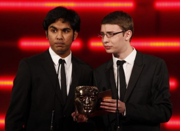 The EastEnders co-stars announce the winners of a new category, Social Network Game. (Pic: BAFTA/Brian Ritchie)