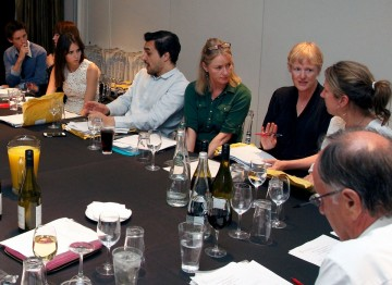 From left to right: Eddie Redmayne, Jo Twist, Felicity Jones, Georg Backer, Karen Lindsay Stewart, Philippa Lowthorpe, Jacqueline Durran and John WIllis