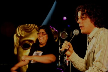 Actor Alan Davies takes questions from a packed audience in Latitude's Film Tent.