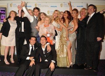 Cast and crew from The Only Way Is Essex, which won the YouTube Audience Award, the only award voted for by the public. (Pic: BAFTA/Richard Kendal)