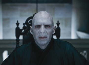 Ralph Fiennes plays the  terrifying Lord Voldemort in the first part of the last book in the series which was split into two films.