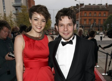 Being Human's Kate Bracken with Damien Malony make pose on the red carpet.