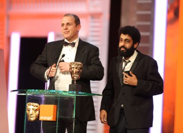 """We are obviously not Chris Morris. He didn't tell us what to say if he won, but he did send us a text message about five minutes ago, and they both say the same thing: 'Doused in petrol, Zippo at the ready.'"" Four Lions stars Nigel Lindsay and Adeel Akht"