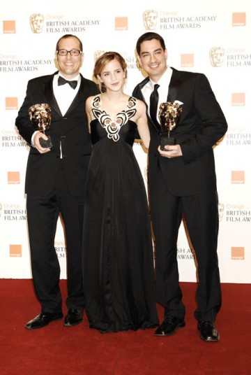 Eric Barba and Edson Williams received the award for Special Visual Effects from Emma Watson for their work on The Curious Case Of Benjamin Button (BAFTA/ Richard Kendal).