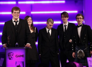 That Game Studio's Jocce Marklund, Annette Nielsen, Marcus Heder, Linus Nordgren and Thomas Finlay accept the BAFTA Ones to Watch award in association with Dare to be Digital. (Pic:BAFTA/Brian Ritchie)