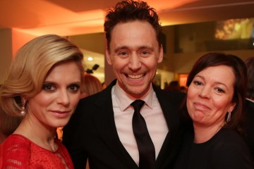 Emilia Fox, Tom Hiddleston and Olivia Colman pose for the camera