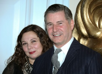 Tessa Ross, with menswear designer Jeremy Hackett - the host of the event.