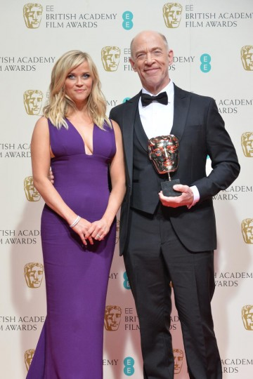 Supporting Actor J.K Simmons poses backstage with Reese Witherspoon