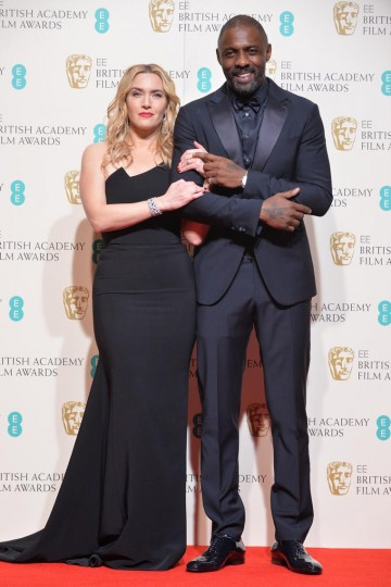 Presenters of the Outstanding British Film award: Idris Elba and Kate Winslet