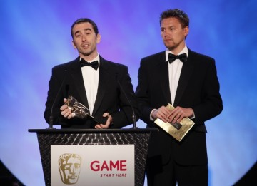 Evan Wells and Christophe Balestra make their acceptance speech after winning the Original Score category for Uncharted 2: Among Theives (BAFTA/Brian Ritchie)