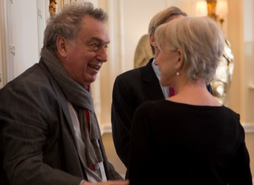 Helen Mirren and Stephen Frears enjoy a conversation at the BAFTA Fellowship lunch hosted by Hackett.