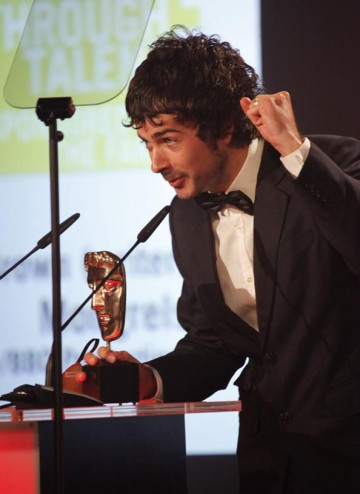 The writer of Mongrels accepts the Break-Through Talent BAFTA, an award that pays tribute to an individual whose emerging talents have come to fruition in the last year. (Pic: BAFTA/Jamie Simonds)