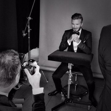 David Beckham in the backstage photo area at London's Royal Opera House.