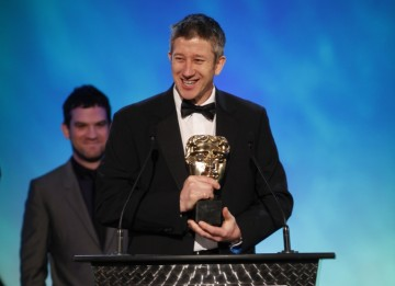 Keith Ramsdale makes an acceptance speech on behalf of the creators behind winning game in the Use of Online Category FIFA 10 (BAFTA/Brian Ritchie)