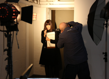 Presenter Claudia Winkleman gets ready for her close-up in her new-found Producer role.