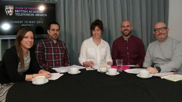 Following the announcement, a panel discussion was held with TV critics to debate the nominations lists. From left to right: Alexia Skinitis, Richard Vine, Sharon Marshall, Matt Risley and Boyd Hilton