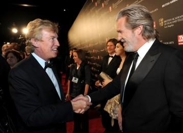 BAFTA Los Angeles Chairman Nigel Lythgoe greets Jeff Bridges at the Britannia Awards