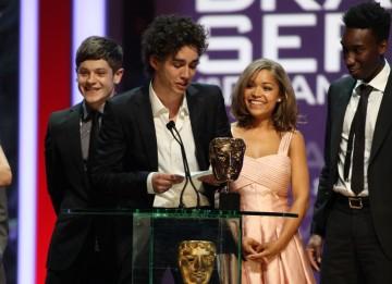 The cast of Misfits; Iwan Rheon, Robert Sheehan, Nathan Stewart Jarrett and Antonia Thomas, pick up their Drama Series BAFTA. (BAFTA/Steve Butler)