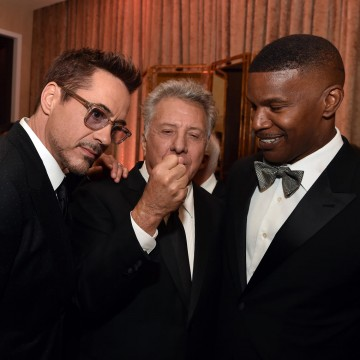 (L-R) Honoree Robert Downey Jr., actors Dustin Hoffman and Jamie Foxx