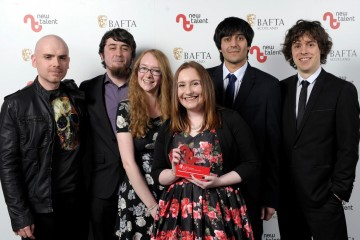 Pictured left to right - Robert Florence (presenter), Chris Dickson, Jess Hider, Amy Stevens, Vimarsh Raina, Ross Davies who won Best Game for 'Seek'