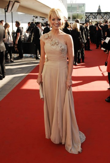 Liz McClarnon of Celebrity Master Chef dazzled the waiting fans with a striking Philip Armstrong dress and Boodles jewellery (BAFTA / Richard Kendal).