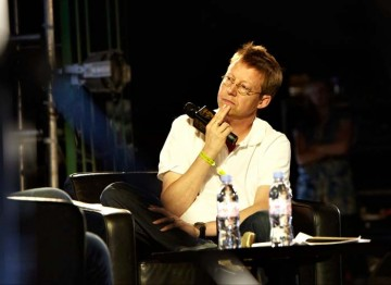 July 16: Simon Mayo considers his next question (Picture: Jonathan Birch)