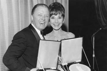 Richard Attenborough and film starlet Audrey Hepburn display their Actor and Actress awards at the British Film Academy Awards in 1965.