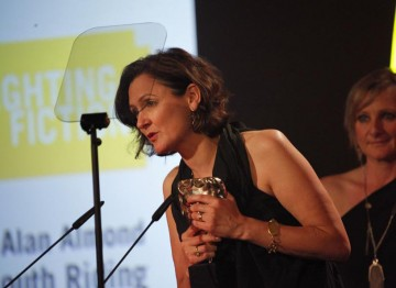 Kate Harwood accepts the award for Photography & Lighting: Fiction on behalf of Alan Almond for South Riding in 2011. (Pic: BAFTA/Jamie Simonds)