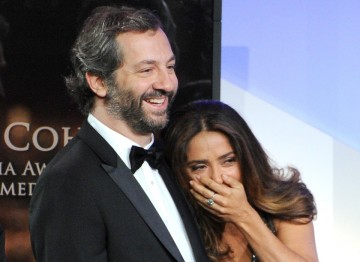 Judd Apatow and Salma Hyek react to Sacha Baron Cohen's hilarious acceptance speech