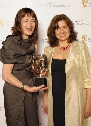Kristina Hetherington, winner of Editing Fiction Award for Mo with The Thick Of It star Rebecca Front.