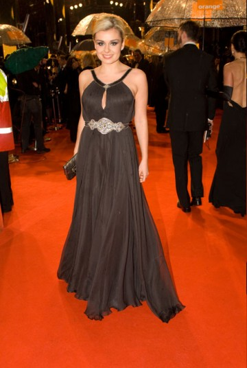 Welsh Actress Katherine Jenkins was another star opting for the classic elegance of a simple full length black gown (BAFTA / Richard Kendal).