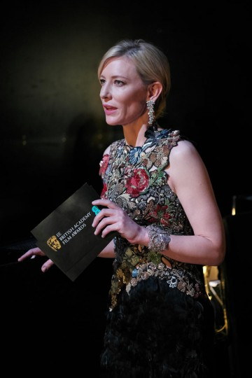 Cate Blanchett prepares to present the award for Outstanding Contribution backstage at London's Royal Opera House