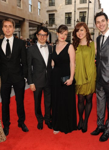 The cast arrive to present the YouTube Audience Award, which their E4 show won last year. (Pic: BAFTA/Richard Kendal)