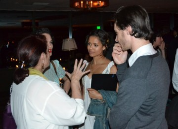 Jessica Brown Findlay, Gugu Mbatha-Raw and Harry Lloyd chat at the reception