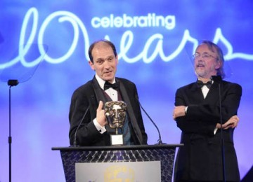 Aardman Animations co-founders, Peter Lord and David Sproxton accept the Academy's Special Award in recognition of the company's outstanding creative contribution to the television industry (BAFTA / Richard Kendal).