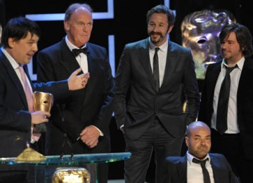 The IT Crowd cast members Chris O'Dowd (Roy) and Matt Berry (Reynholm) joined Graham Lineham, Richard Boden and Ash Atella on stage to accept the Situation Comedy award (BAFTA / Marc Hoberman).