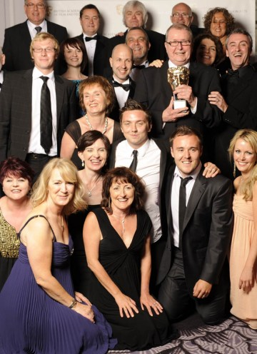 The behind-the-scenes talent of Coronation Street celebrate recieving the Academy's Special Award with some of the show's more recognisable faces.
